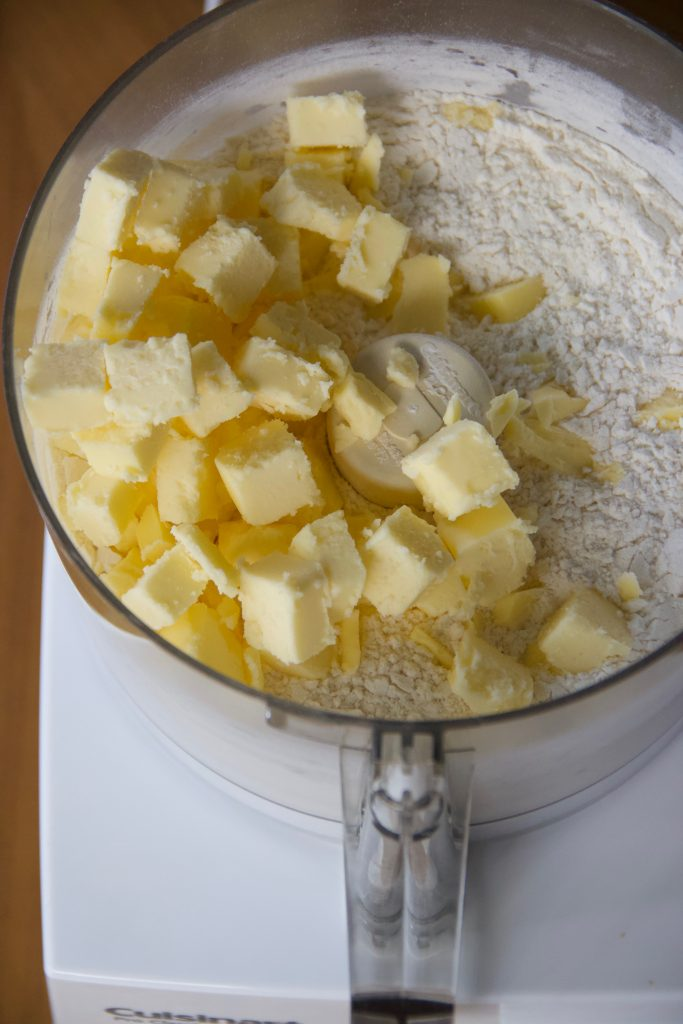 butter cubes in food processor