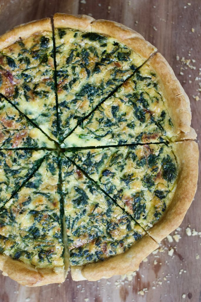 sliced deep-dish spinach quiche