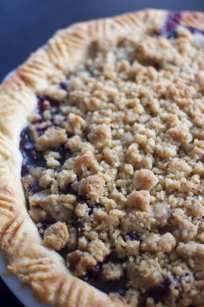 left side of baked blueberry streusel pie