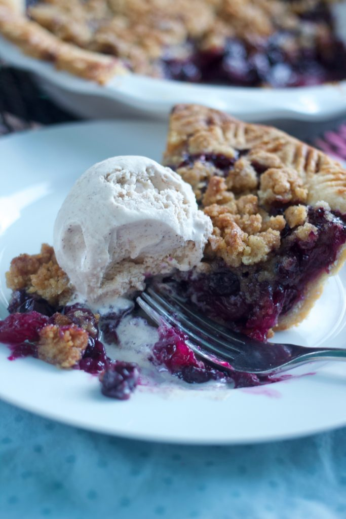 plated blueberry streusel pie
