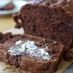 slice of double chocolate zucchini bread with butter