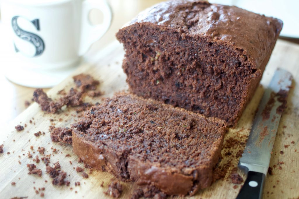 whole sliced loaf of chocolate zucchini bread