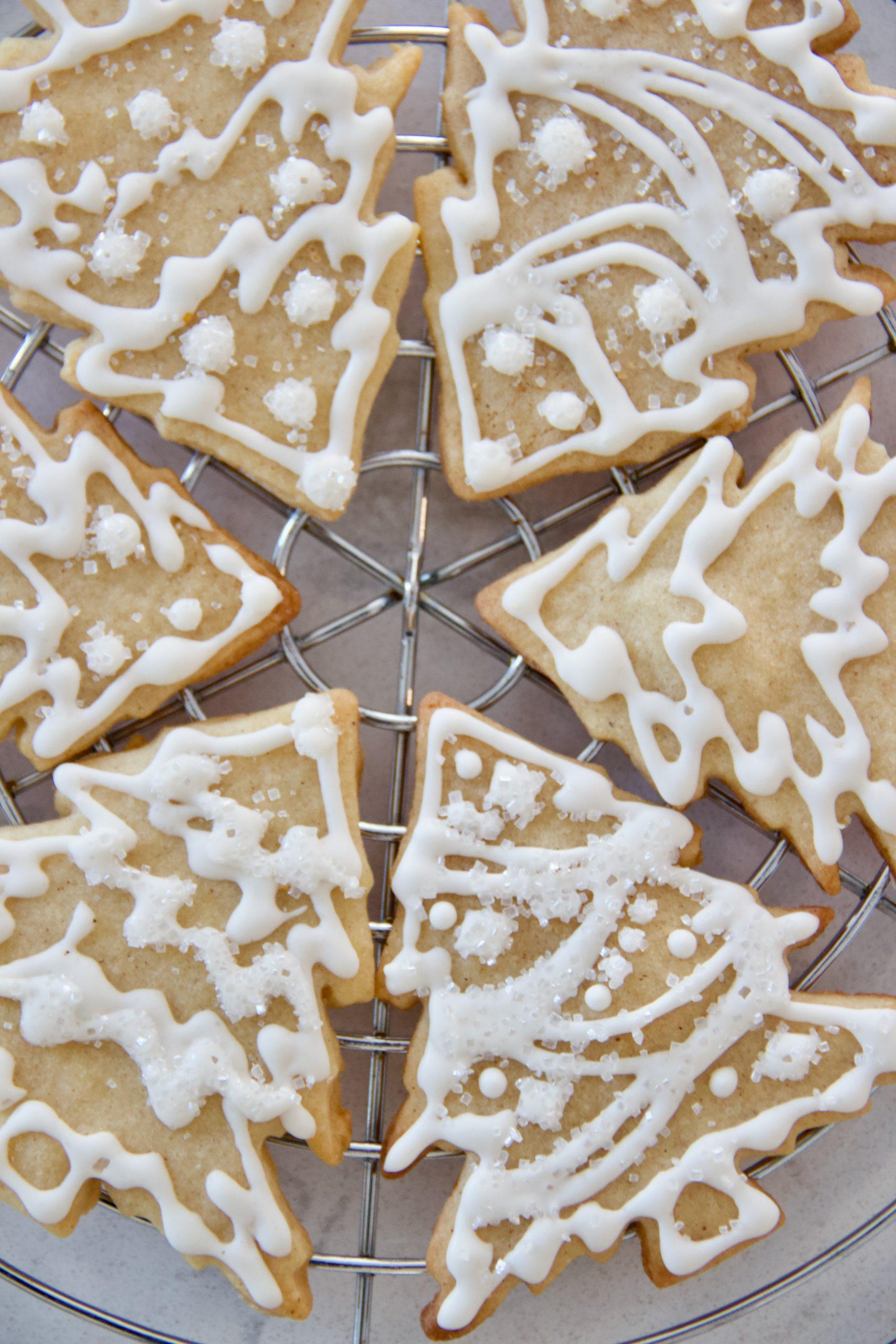 Christmas tree cinnamon-sugar no-chill cut-out cookies