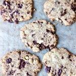 overhead photo of ultra-thin chocolate chunk cookies