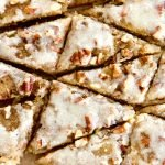 triangle bars of cardamom cookies with brown butter icing