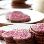 plated heart-shaped chocolate sugar cookies